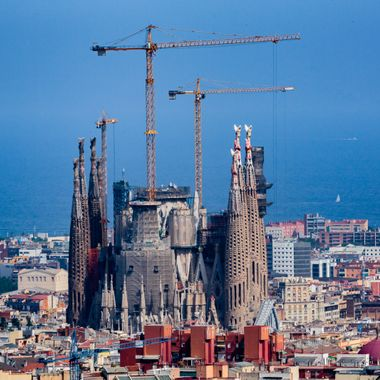 The stunning view of Sagrada Familia from Park Guell in magnificent Barcelona, Spain