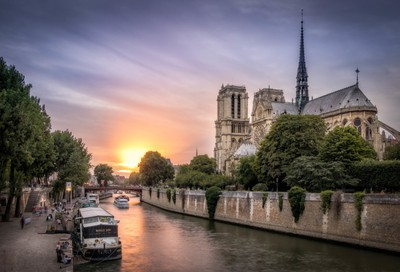 Sunset on the Cathedral Notre Dame of Paris