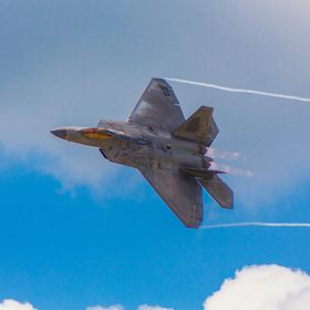The Lockheed-Martin F22 Raptor shows off its looks for the crowd during a photo pass at the Wings Over Pittsburgh 2017 Airshow in Moon Township, PA.