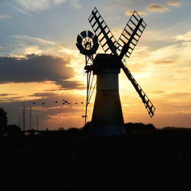 Sunset at Thurne Windmill,Norfolk,UK.