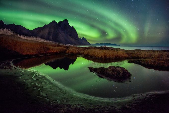 Waves of light over Westrahorn by petersvoboda - Color In The Night Photo Contest