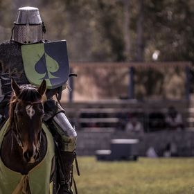 A Knight at Abbeystowe, for the Abbey Medieval Festival. Nearly days end, and the final session of Jousting was coming to an end.