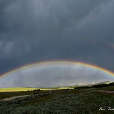 Bright rainbow in the Bighorn Mountains of Wyoming.