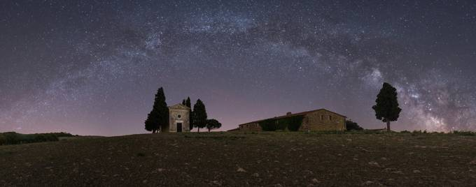 The Milky Way over Madonna di Vitaleta Chapel by Gilmour82 - Capture The Milky Way Photo Contest
