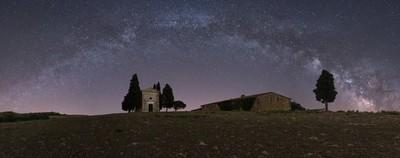 The Milky Way over Madonna di Vitaleta Chapel
