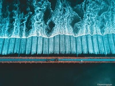 River Crossing Thailand - Bridge - Aerial