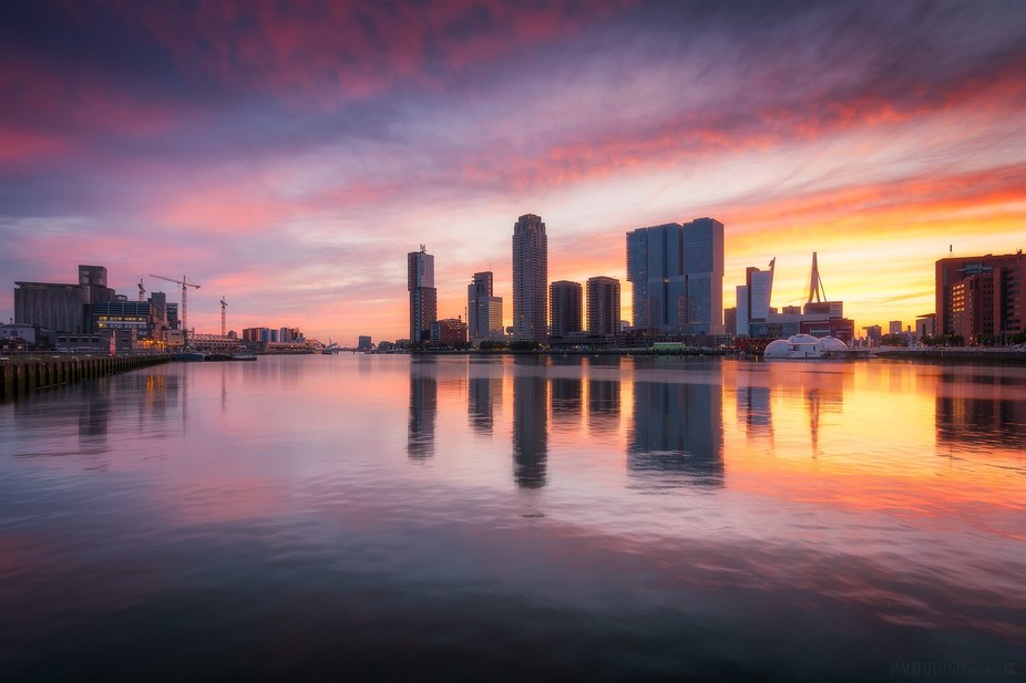 Amazing sunset over Rotterdam.