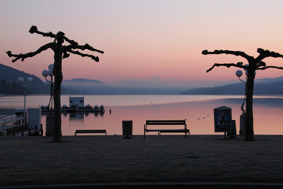 Morning view to the Woerthersee in Velden, Austria