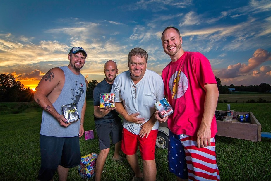 At my sister's farm for 4th of July Fireworks. This is a photo of the crew, which includ...