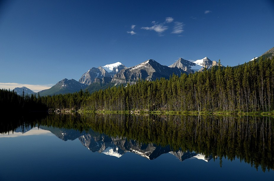 The calm stillness of a lake in the Canadian Rockies.
