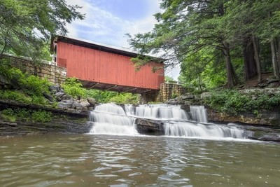 Packsaddle Covered Bridge and Waterfall