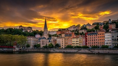 Sunset on St-George district at Lyon