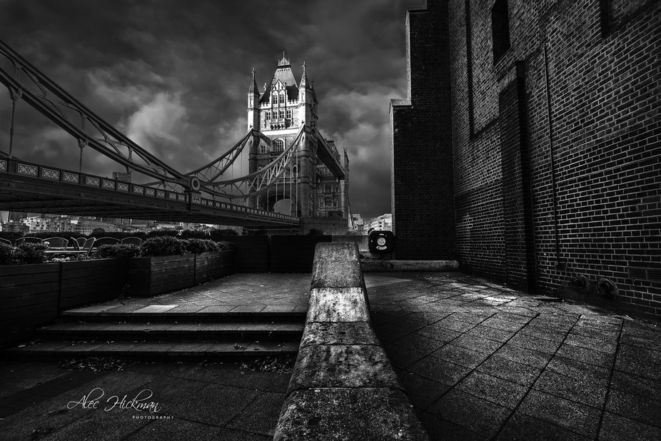 A monochrome image of London's Tower bridge