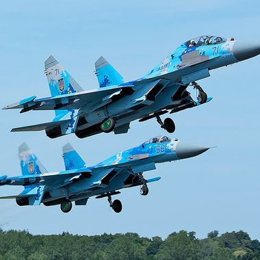 Ukranian SU27s depart RAF Fairford after taking part in RIAT 2017 Airshow