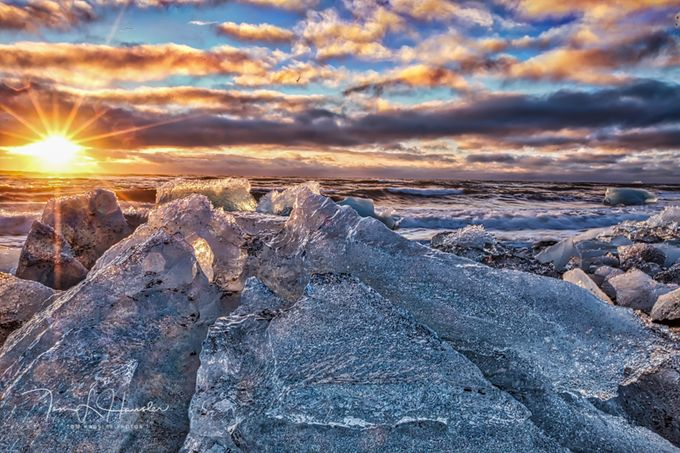 Sunrise at ice beach in Iceland  by tomhausler - Simply HDR Photo Contest
