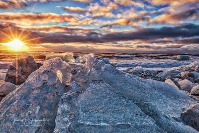Sunrise at ice beach in Iceland