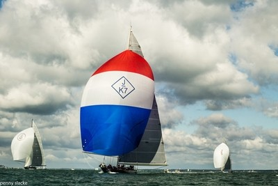 """""""Velsheda"""" J Class Yacht racing off Cowes, Isle of Wight, England"""