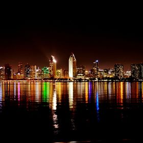 The magnificent San Diego skyline as seen from across the bay on Coronado Island.