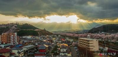 Sunburst and cherry blossoms - Funaoka, my birthplace, Japan