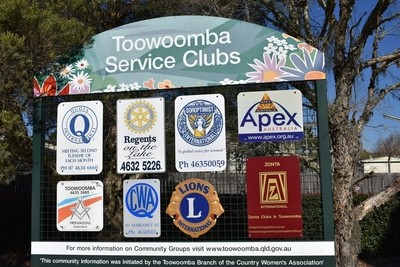 Toowoomba Service Clubs Sign