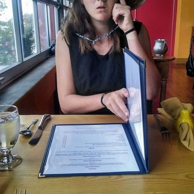 A candid shot of my daughter while we sat in the Blue Window restaurant in Los Alamos, New Mexico.