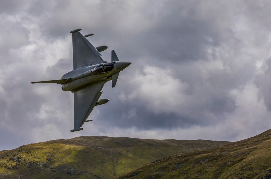 Low flying Typhoon navigating the Mach Loop, north Wales