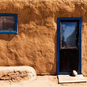 The entrance to a house at the Taos Pueblo near Taos, New Mexico.