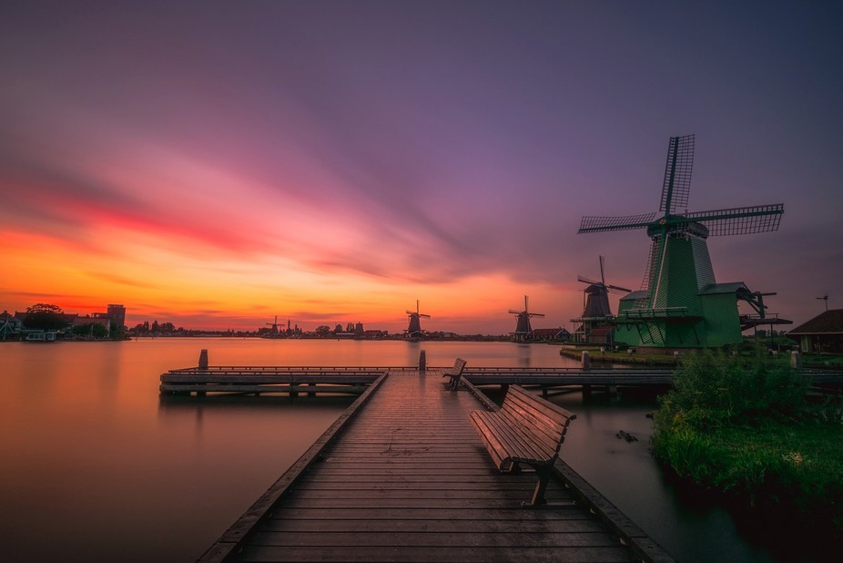 An amazing sunset in Zaanse Schans, using an ND200 Hoya filter to calm the water and get some nic...