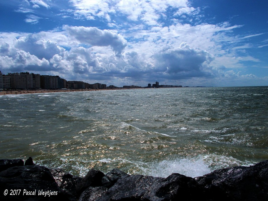 Ostend city by North Sea Belgium