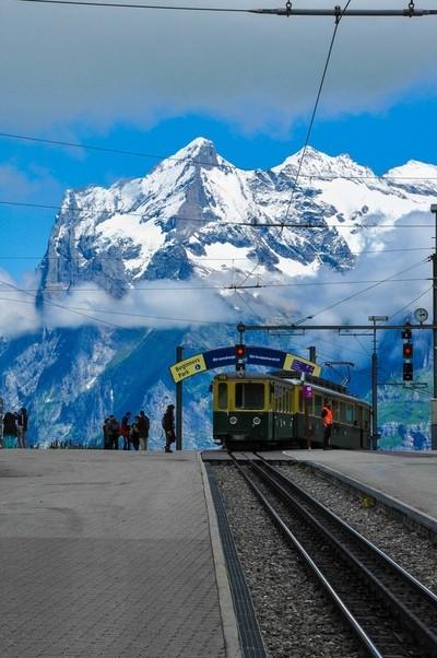 Train station on white mountain