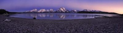 The Grand Tetons and Jackson Lake at Dawn Pano