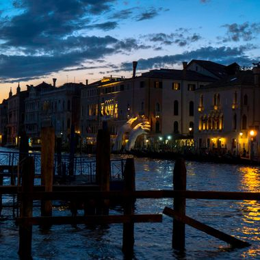 A beautiful night in Venice looking across the Grand Canal.