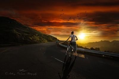Cyclist Sunset