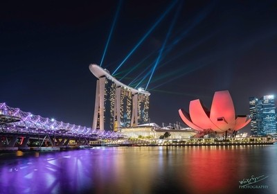 Light and laser show at marina bay, Singapore