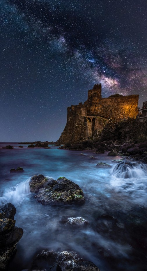 Milky Way over Aci Castello comp by 2492_8581 - Enchanted Castles Photo Contest