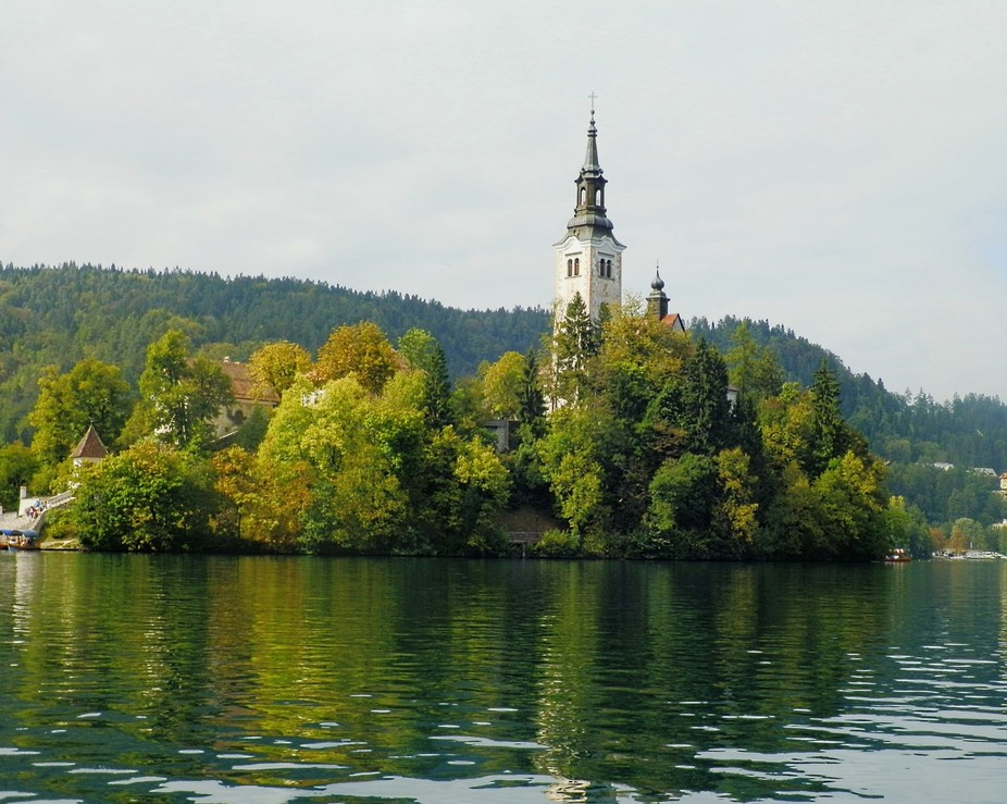 The church at an island at Blad Lake, Slovenia