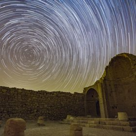 Star Trails over Shivta's Northern Chapel