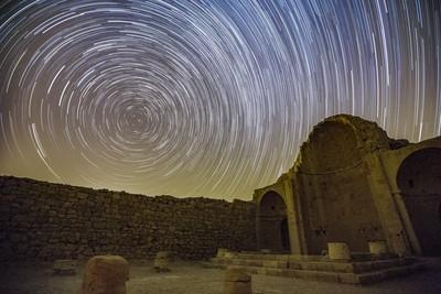 Star Trails over Shivta's Northern Chapel