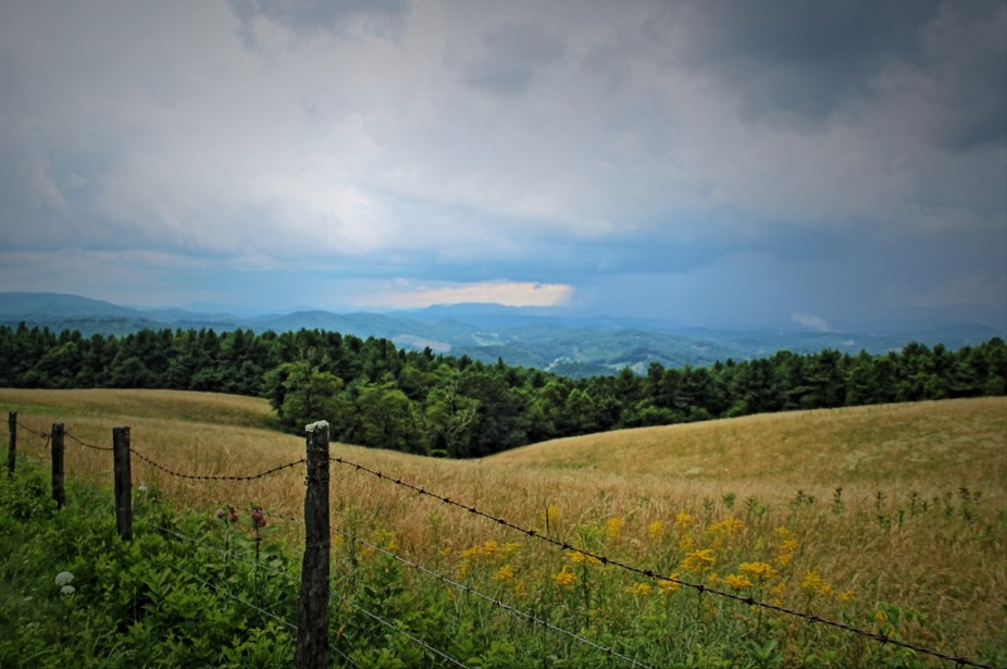 Traveling on the Blue Ridge Parkway in NC on a cloudy/stormy day in July.