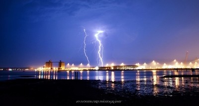 Lighning strike over my home town Southampton