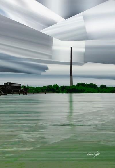 chimenea en el Rin. Chimney on the Rhine. Leverkusen. Deutschland