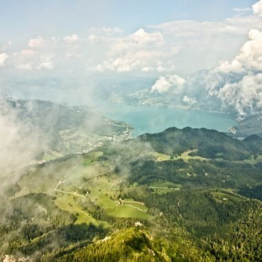 I took this photo when we went to the Schafberg Mountains, St. Wolfgang in Austria in the year 2016. This was taken at the same level as the clouds.