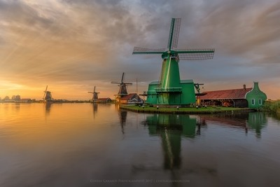 Glorious sunset by the Zaanse Schans