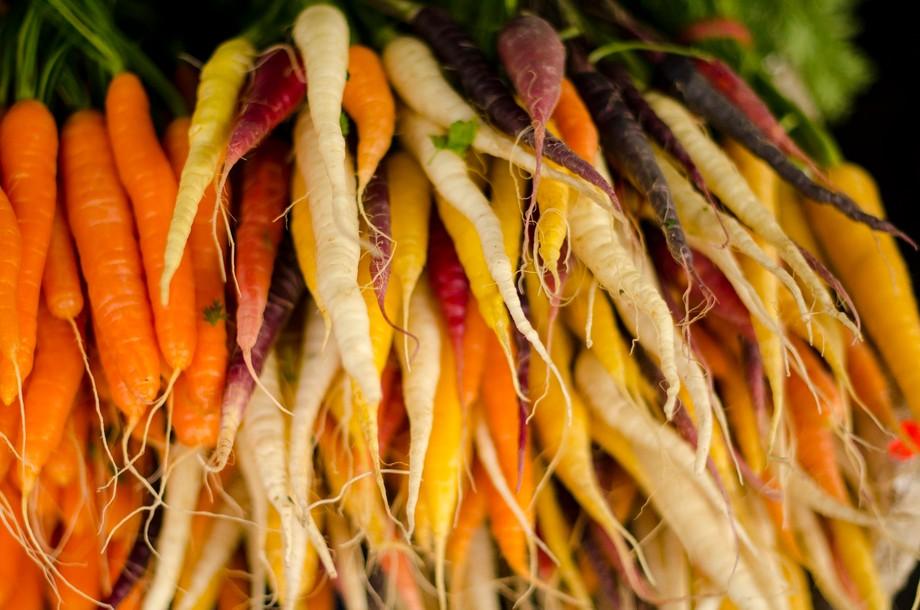 Harlequin Carrots at Salamanca Markets in Tasmania