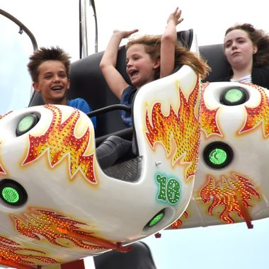Photo of a high speed fair ride at the Libori Fair in Paderborn Germany.
