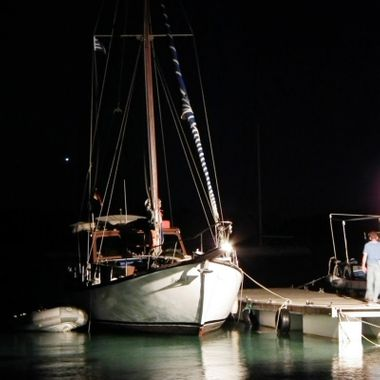 Boat moored in Posidonio Bay.