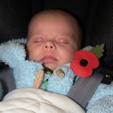 A baby supporting The Royal British Legion's Poppy appeal without even knowing it.
