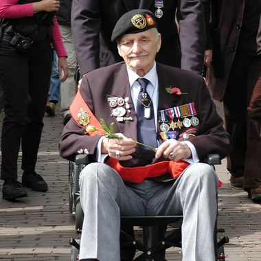 A world war 2 veteran on the Dutch Liberation day parade in Holland.