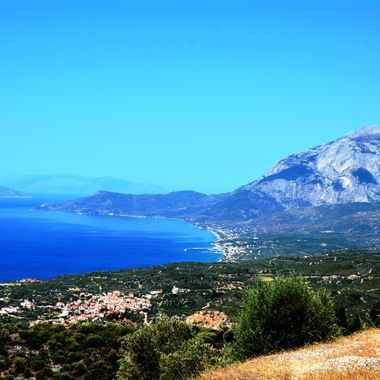 Landscape photo showing the southern region of Samos Island Greece.