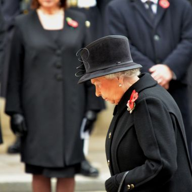 The Queen paying respects at the Cenotaph Remembrance Day 2014.
